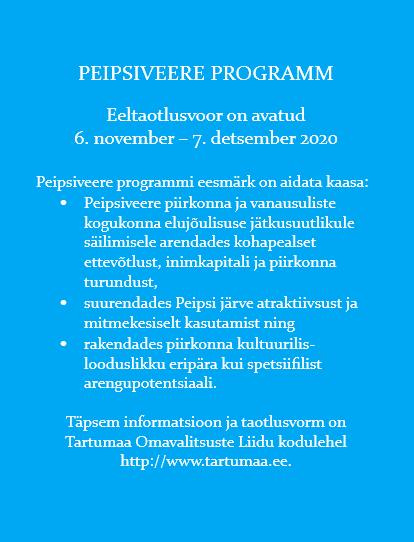 Peipsiveere programm on taotluste ootel